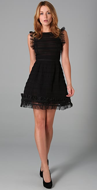 RED Valentino Sleeveless Dress with Ruffles
