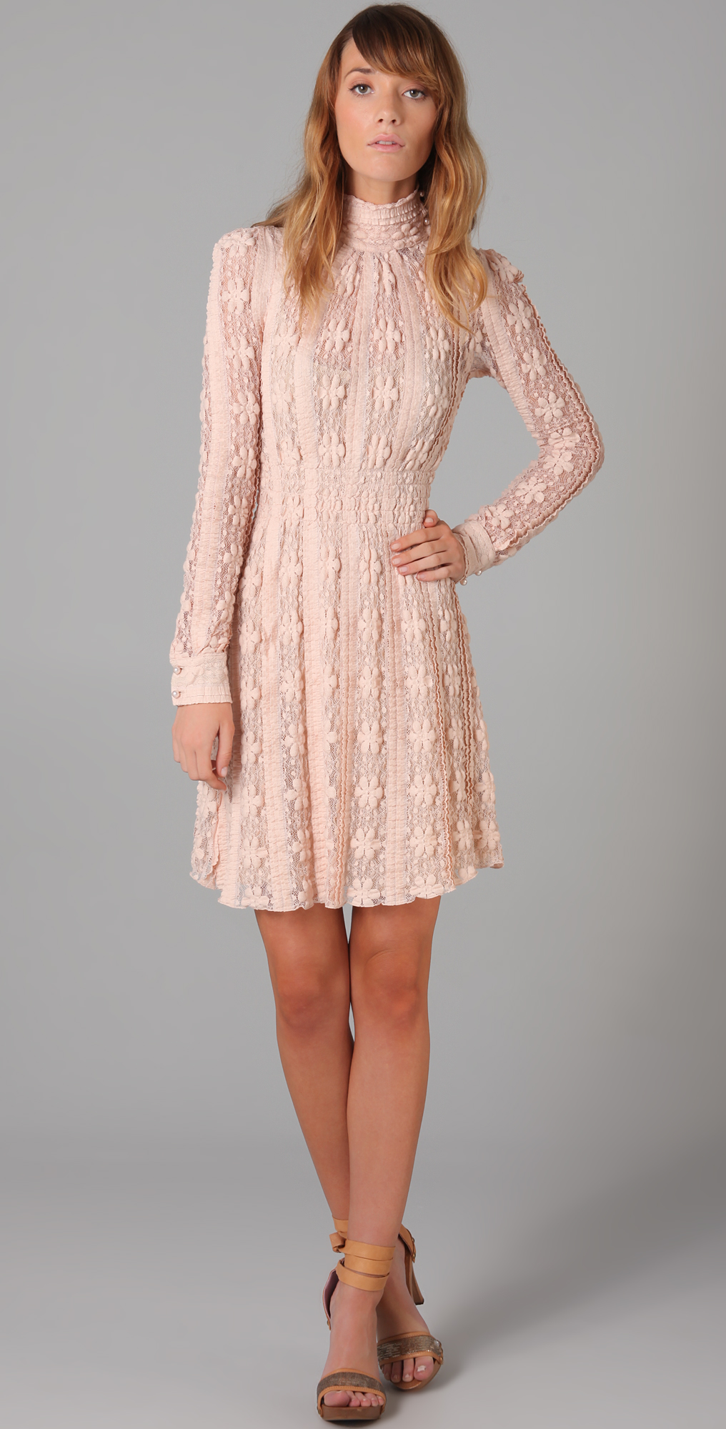 RED Valentino Long Sleeve Lace Dress