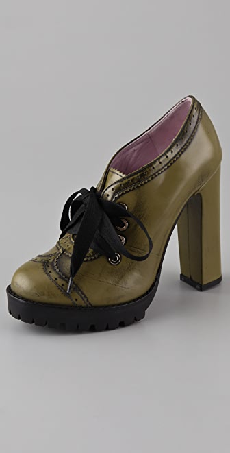 RED Valentino Lace Up Lug Sole Booties