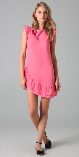 RED Valentino Short Sleeve Dress with Ruffle Hem