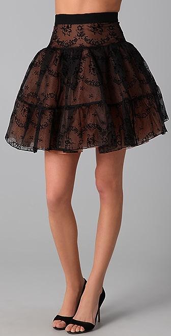RED Valentino Flocked Rosette Skirt