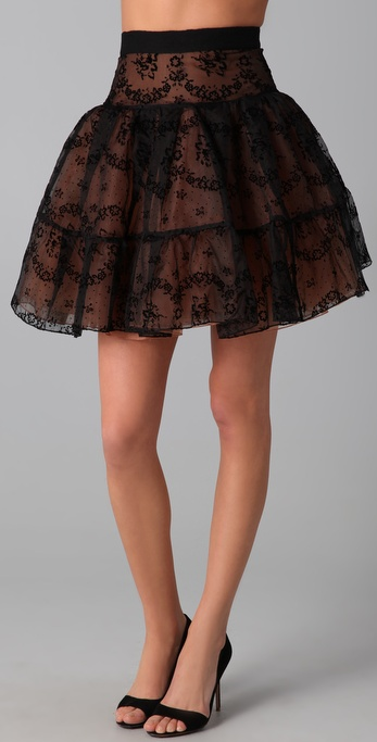 RED Valentino Flocked Rosette Skirt