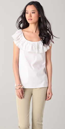 RED Valentino Top with Eyelet Collar