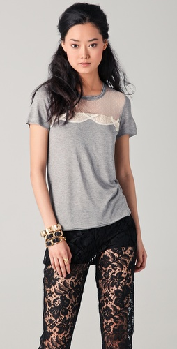 RED Valentino Short Sleeve Tee with Lace