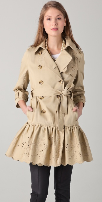 RED Valentino Ruffle Trench Coat with Eyelet Trim
