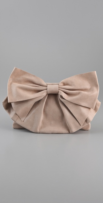 RED Valentino Laminated Bow Clutch