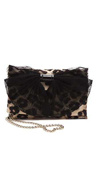 RED Valentino Leopard Print Bow Shoulder Bag