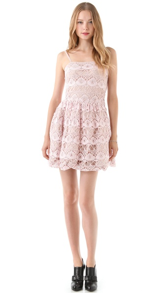 RED Valentino Tombolo Lace & Taffeta Dress