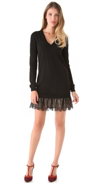 RED Valentino V Neck Dress with Lace