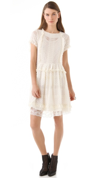 RED Valentino Short Sleeve Paneled Dress