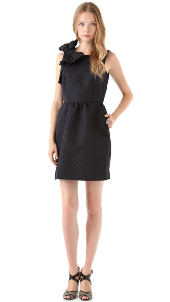 RED Valentino Polka Dot Dress w/ Bow Detail