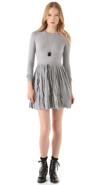 RED Valentino Sweater Dress with Pleated Skirt