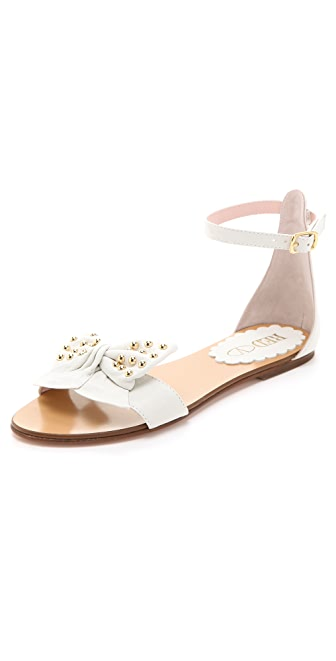 RED Valentino Studded Bow Flat Sandals