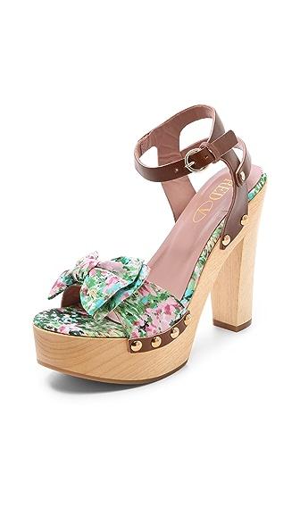 RED Valentino Floral Wooden Heel Sandals