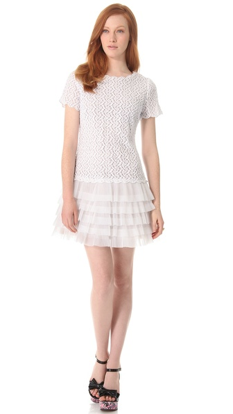 RED Valentino Full Daisy Organza Drop Waist Dress