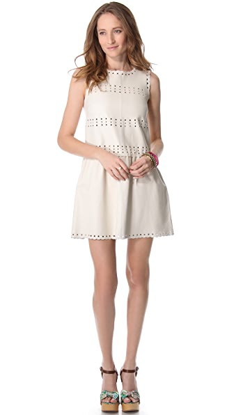 RED Valentino Embroidered Leather Dress