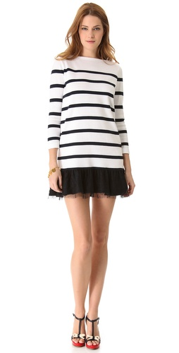 Shop RED Valentino Striped Sweater Dress with Chantilly Lace - RED Valentino online - Apparel,Womens,Dresses,Day, at Lilychic Australian Clothes Online Store
