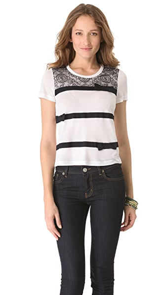 RED Valentino Lace Ribbon Stripe Tee