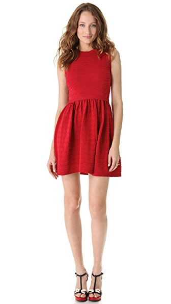 RED Valentino Scalloped Knit Sleeveless Dress