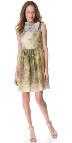 RED Valentino Tropical Landscape Organza Dress
