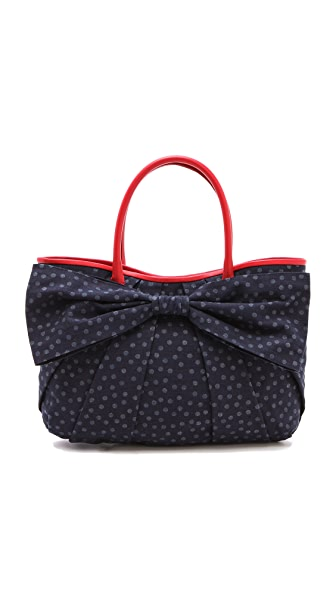 RED Valentino Denim Pois Bow Tote