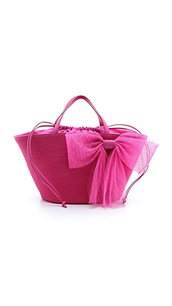 RED Valentino Eco Straw Bow Tote