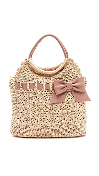 RED Valentino Crochet Raffia Top Handle Bag