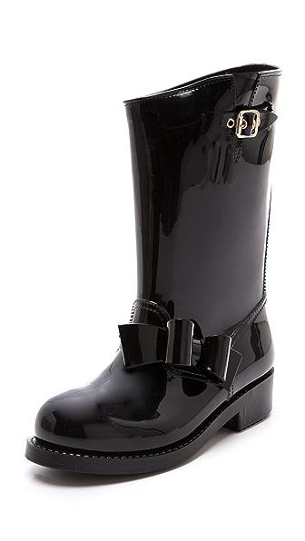 RED Valentino Bow Moto Rain Boots
