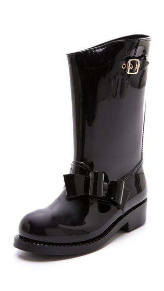 RED Valentino Bow Moto Rain Boots
