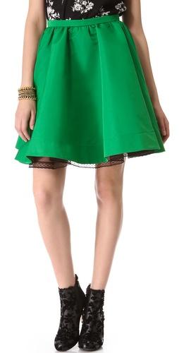 RED Valentino Faille Full Miniskirt