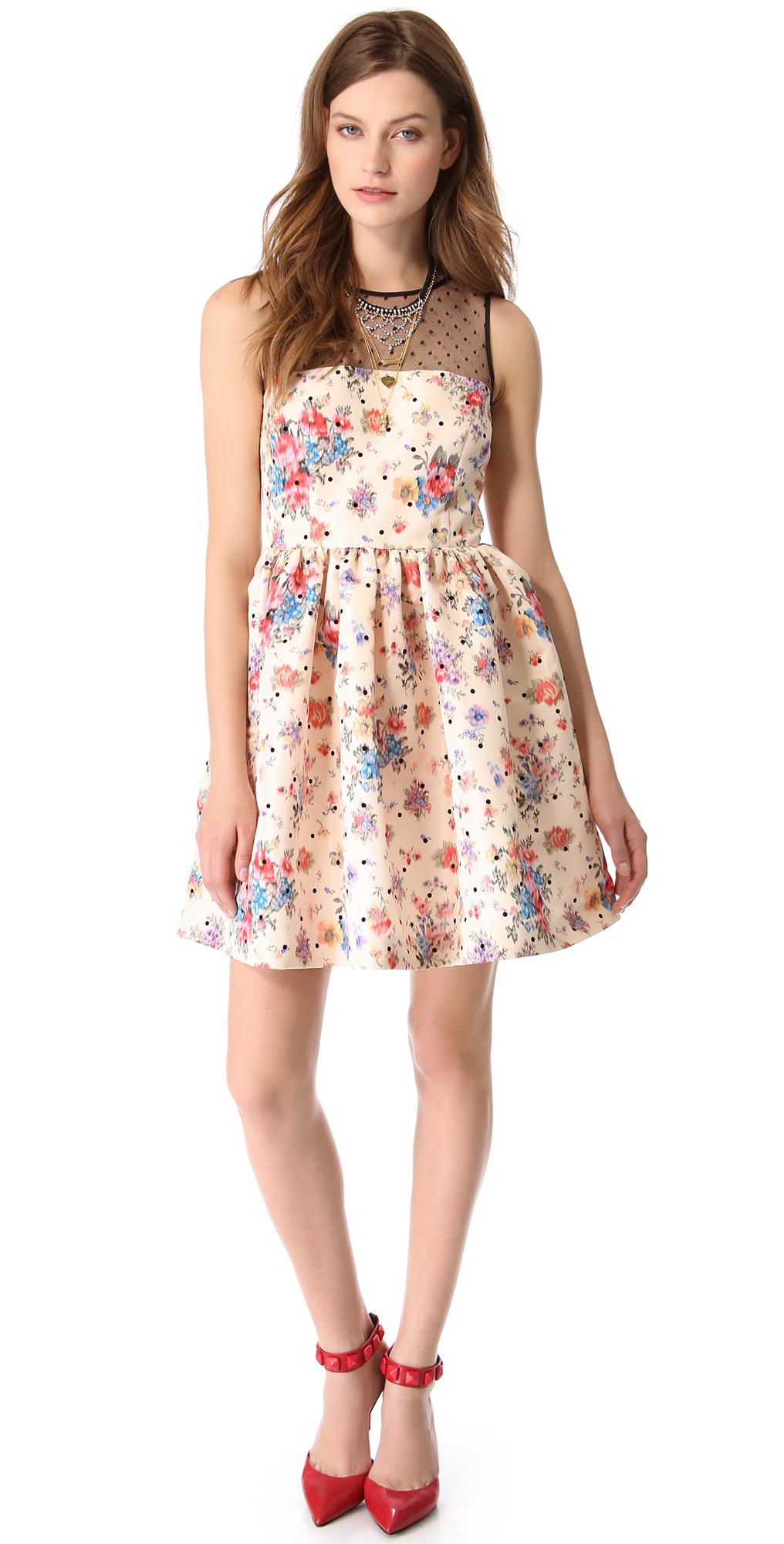 valentino 圆点花纹花朵图案连衣裙