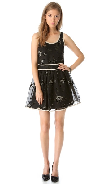 RED Valentino Flocked Roses Dress