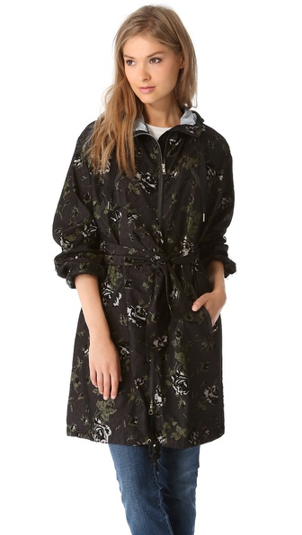 RED Valentino Allover Flock Roses Parka