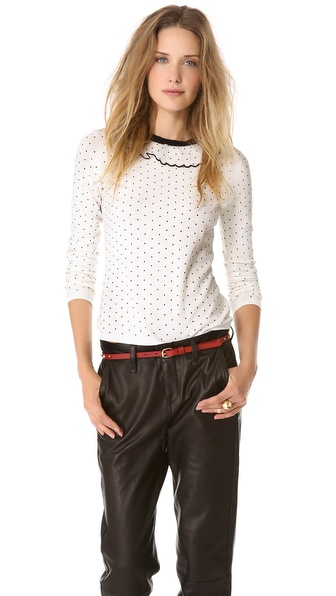 RED Valentino Polka Dot Flock Pullover