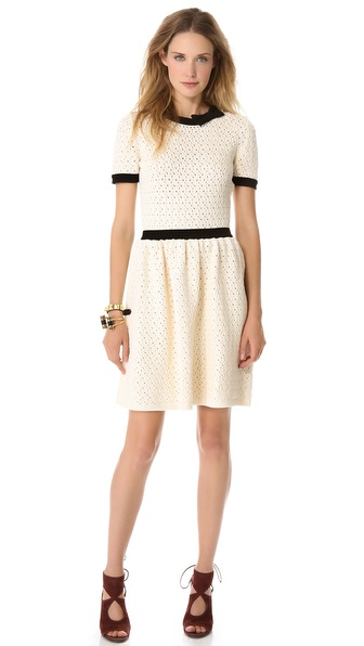 RED Valentino Lace Knit Dress with Bow