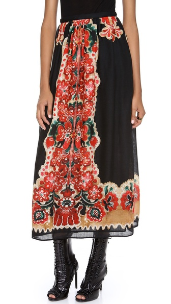 RED Valentino Printed Maxi Skirt