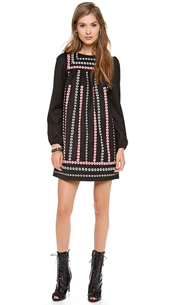 RED Valentino Embroidered Ribbon Long Sleeve Dress