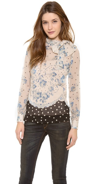 RED Valentino Roses & Polka Dot Tie Neck Top