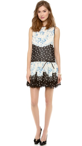 RED Valentino Roses & Polka Dot Print Dress