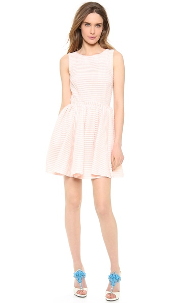 Shop RED Valentino online and buy Red Valentino Seersucker Sleeveless Dress Confetti - A modified basque waist lends vintage romance to a fit and flare RED Valentino dress. Tonal stripes create a subtle graphic touch, and ruched godet insets add volume to the skirt. Sleeveless. Covered back zip. Lined. Fabric: Airy plain weave. Shell: 62% cotton/38% nylon. Lining: 67% acetate/33% polyester. Dry clean. Imported, Romania. MEASUREMENTS Length: 32in / 81cm, from shoulder. Available sizes: 44
