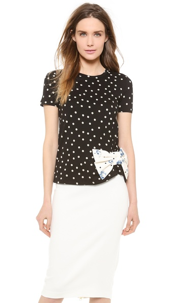RED Valentino Polka Dot Print Bow Top