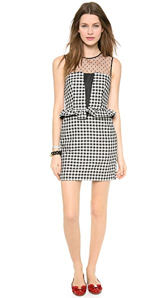 RED Valentino Gingham Peplum Dress