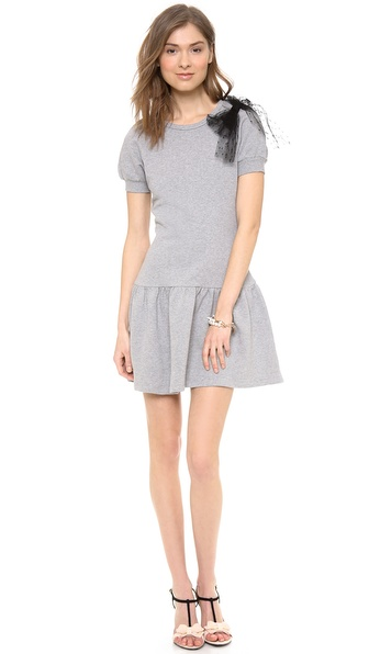 RED Valentino Bow Shoulder Sweatshirt Dress