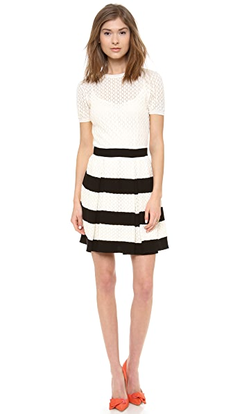 RED Valentino Ruffle Knit Short Sleeve Dress