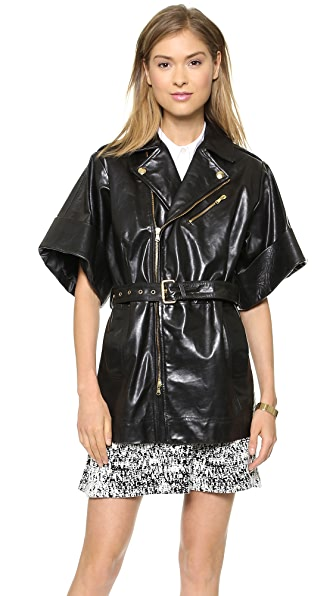 RED Valentino Belted Leather Moto Jacket