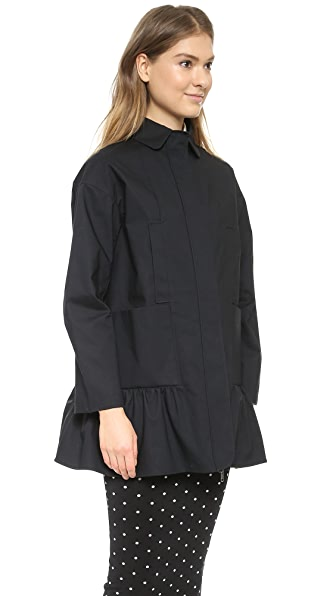Red Valentino Ruffle Bottom Coat - Black