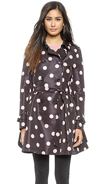 Red Valentino Polka Dot Trench Coat - Black