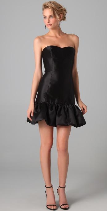 Reem Acra Silk Gazar Dress with Trimmed Hem