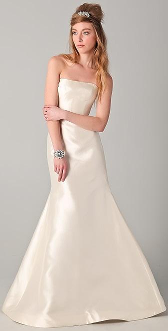 Reem Acra Strapless Silk Mermaid Gown