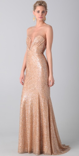 Reem Acra Tulle and Sequin Gown